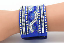 Ethnic Wide Bracelet Femme Resin Crystal Energy Cuff Bracelets Bangles For Women Men Jewelry Pulseiras Femininas(China)