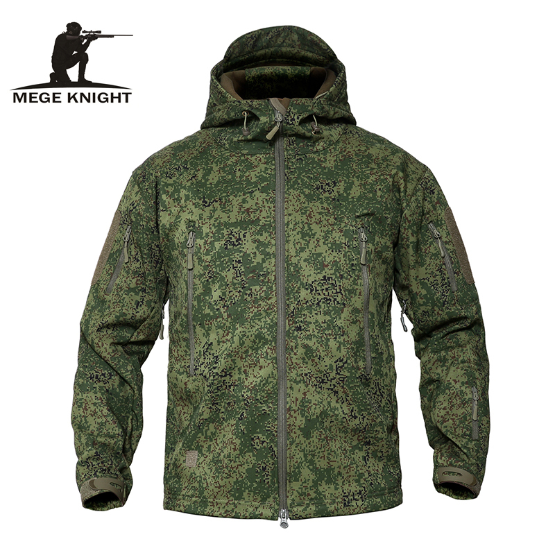 MEGE Men's Military Camouflage Fleece Tactical Jacket Men Waterproof  Softshell Windbreaker Winter Army Hooded Coat Hunt Clothes