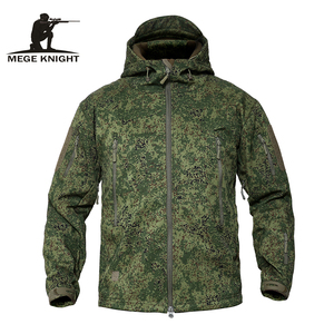 MEGE Men's Military Camouflage Fleece Tactical Jacket Men Waterproof Softshell Windbreaker Winter Army Hooded Coat Hunt Clothes(China)
