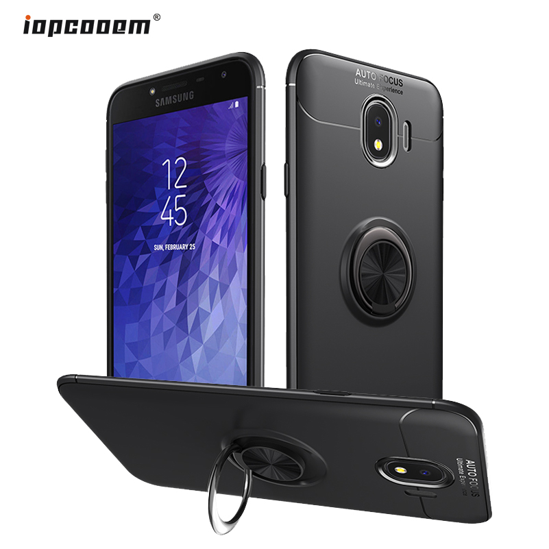 for Samsung Galaxy J4 2018 J400F Case Finger Ring Stand Shockproof Soft Back Cover for Samsung J4 Plus J415F J4 Phone Cases in Half wrapped Cases from Cellphones Telecommunications