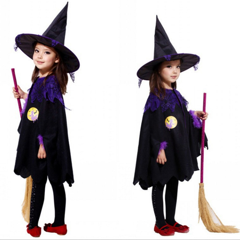Baby Girl Witch Toddler Girl Halloween Fancy Dress Party Costume Outfit Clothes + HAT + Magic Wand Bebe Kids Dresses Princess