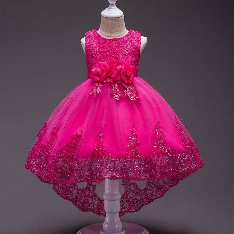 Летнее платье; Одежда для маленьких девочек; Детское кружевное платье принцессы со шлейфом для девочек; Формально элегантное платье с цвето...
