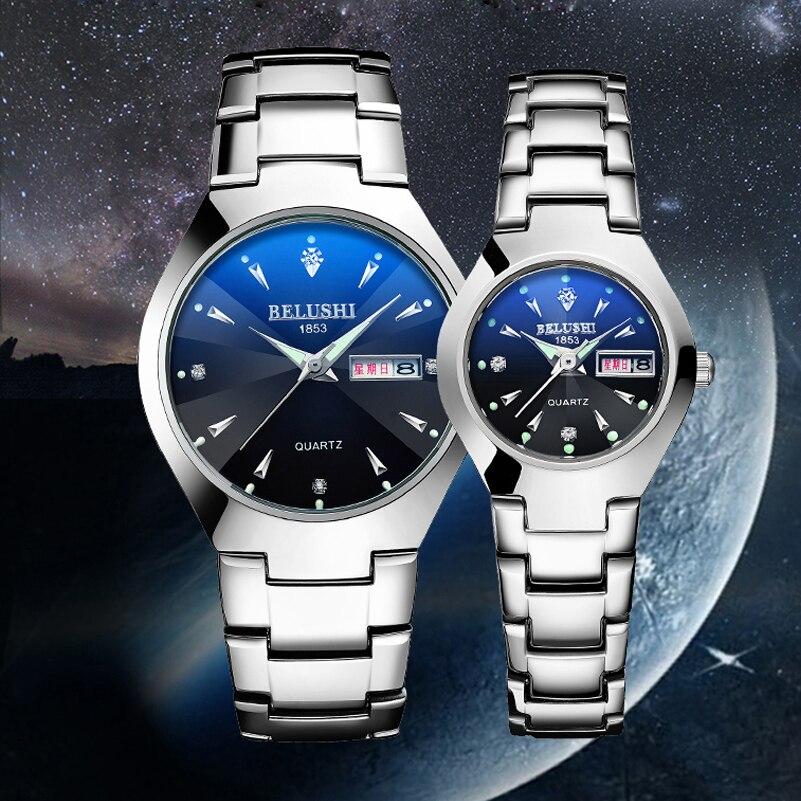 Top Brand Lover's Wristwatch Quartz Watches BELUSHI Couple Watch Steel Waterproof Luminous  Men Women Bracelet Watch Gifts #c