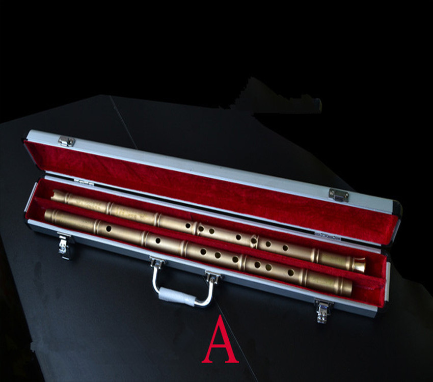 One set of brass Flute +Xiao  Dizi top grade  flute musical instrument With High-grade Aluminum Flauta case for collection gift high quality aluminum alloy flute case material high grade luxury dizi box can hold 5 pieces flauta free shipping