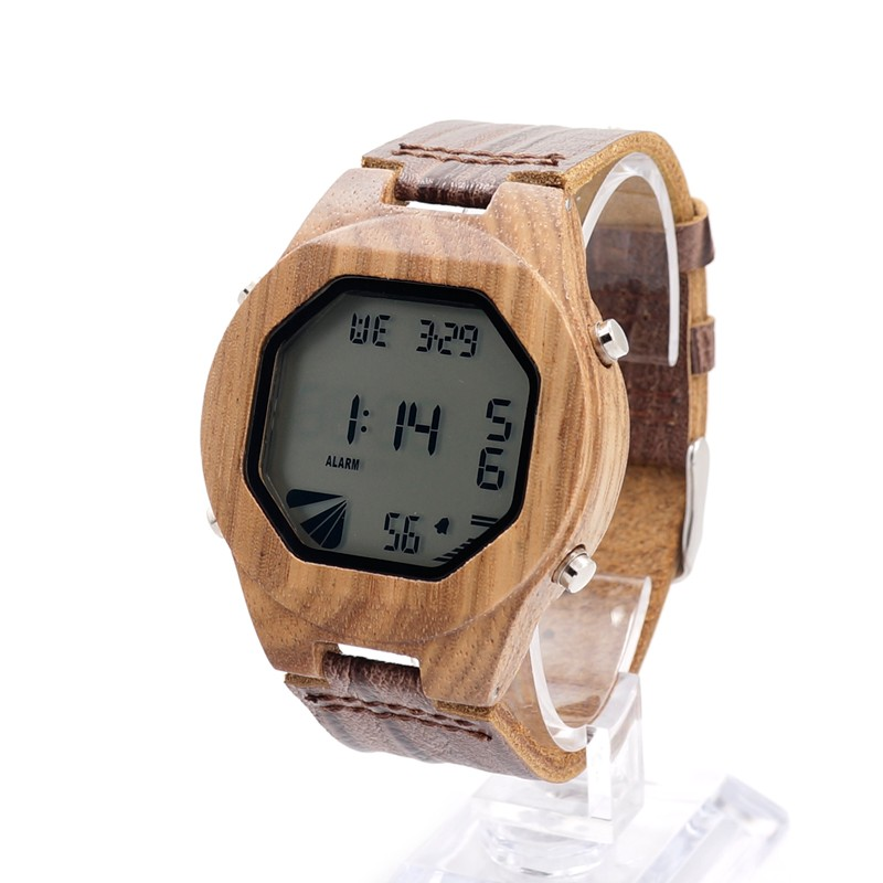 ФОТО BOBO BIRD A13 Men's Luxury Watches Wood Digital Wristwatch with Genuine Leather Band Complete Calendar Watch for Men as Gifts