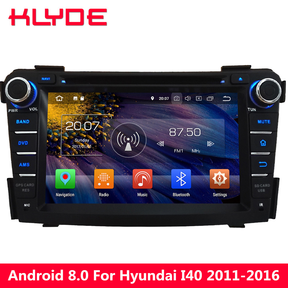 KLYDE Octa Core 4GB RAM Android 8.0 32GB ROM PX5 4G 7 Car DVD Multimedia Player For Hyundai I40 2011 2012 2013 2014 2015 2016