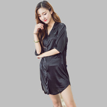 Women's Nightgown Short Summer Dresses For Women Casual Ladies Silk Nightdress Sleepwear Sleepshirt Chemise Femme Tracksuit E14