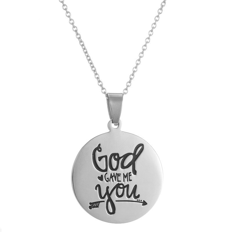 US $4 49 10% OFF Dainty Stainless Steel Engraving Inspirational Quote God  Gave Me You Pendant Necklace Jewelry Gifts for Women Gifts-in Pendant