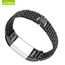 Bracelets Stainless Steel Wrist Watch Band For Fitbit Charge 2 Strap Wrist band Round Ball Bracelet Wearable Device Accessary