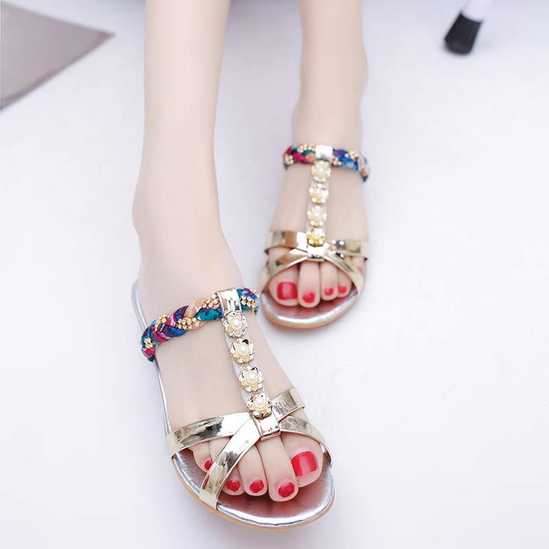 Women Sandals 2017 Summer Shoes Woman Flips Flops Wedges Bohemia Fashion Crystal String Bead Female Slides Ladies Casual Shoes women sandals 2017 summer shoes woman wedges fashion gladiator platform female slides ladies casual shoes flat comfortable