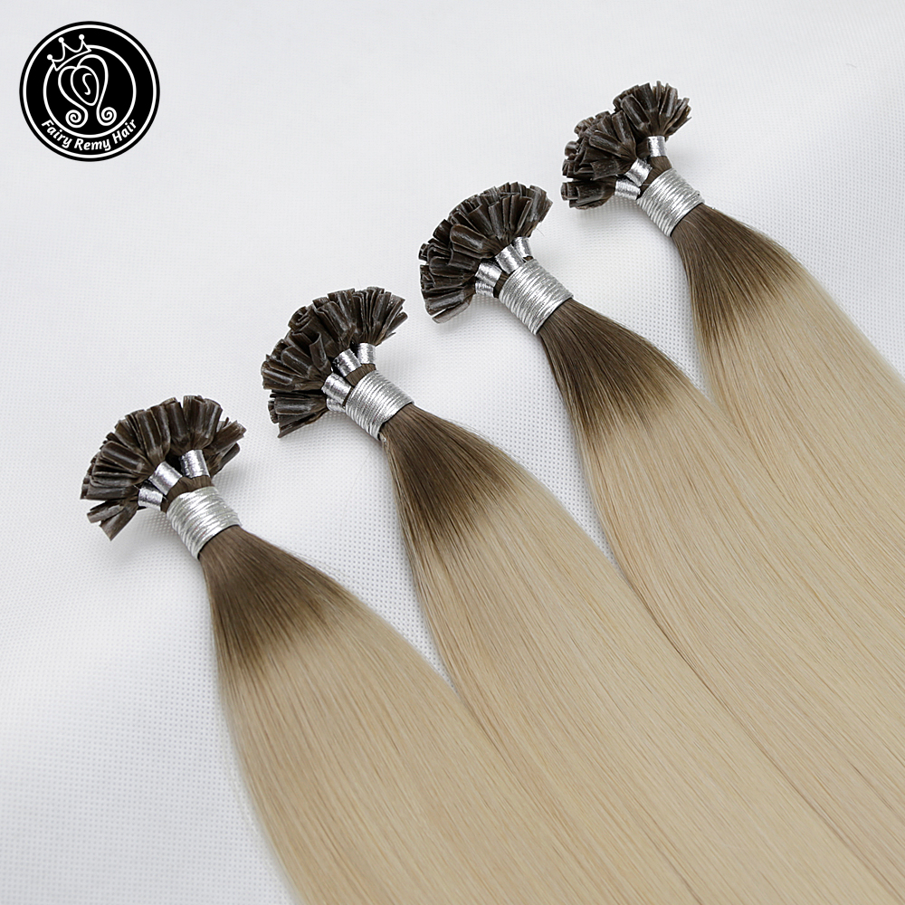 Nail-Tip Human-Hair-Extensions Hair-On-Capsule Remy-Hair Pre-Bonded Straight Ombre Silky