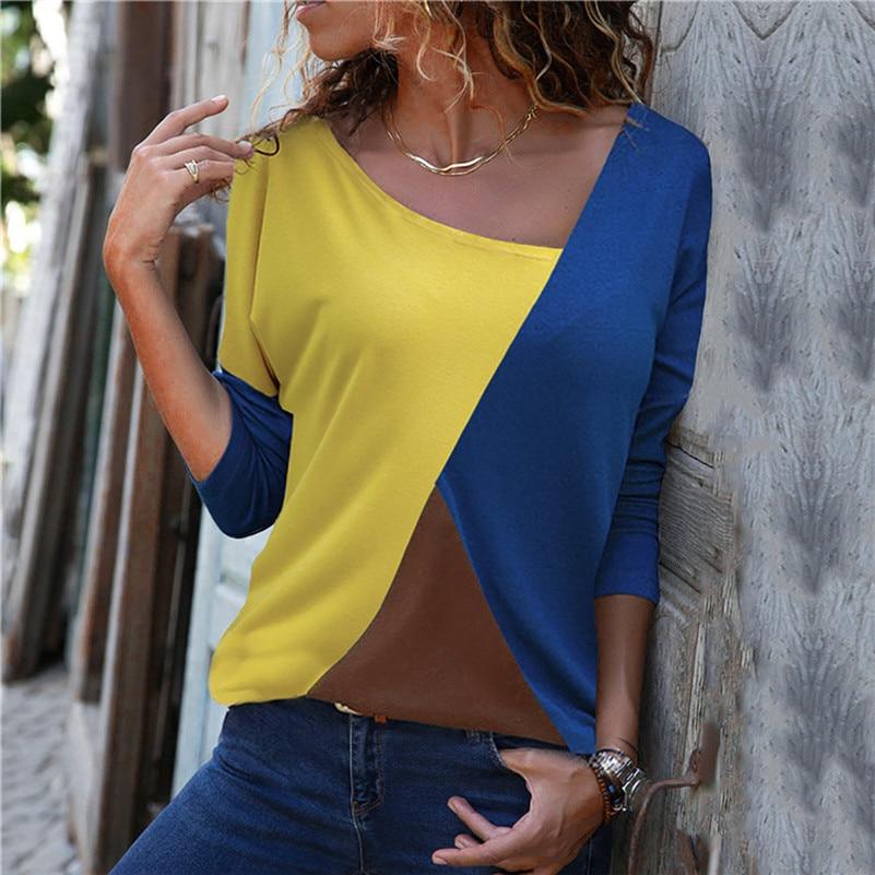 Patchwork Color Block Long Sleeve Blouse Tops Women Autumn Slim Shirt Blouse Clothes Blusa Feminina Camisa Drop Shipping #2s #3
