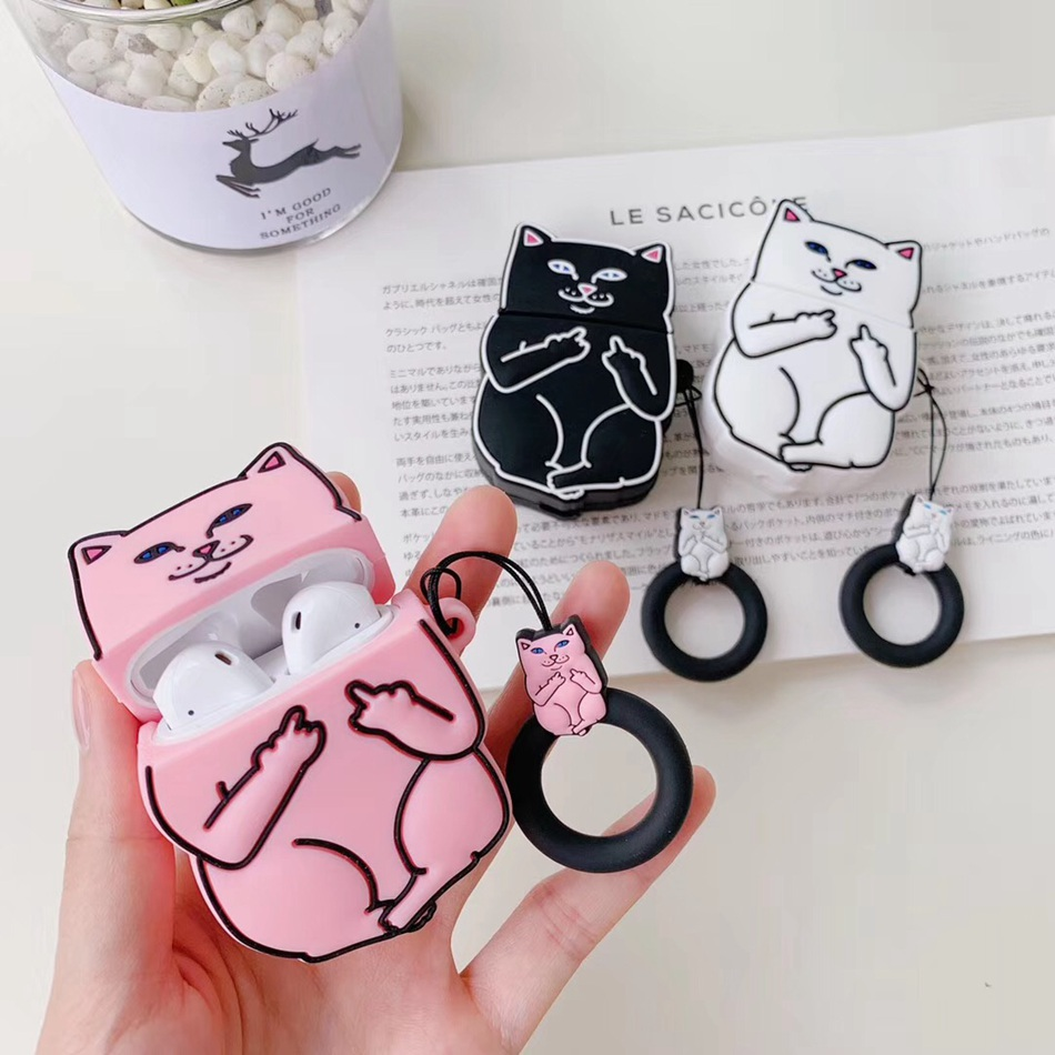 For AirPods 1/2 Case Cute Cartoon Spoof Funny Cat Earphone Cases For Apple Airpods 2 Protect Cover With Finger Ring Strap