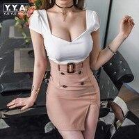 Hot Sexy Office Ladies Deep Low Cut Mini Dress Women Summer Panelled Backless Short Sleeve Belted Slim Fit Korean Wrap Dress