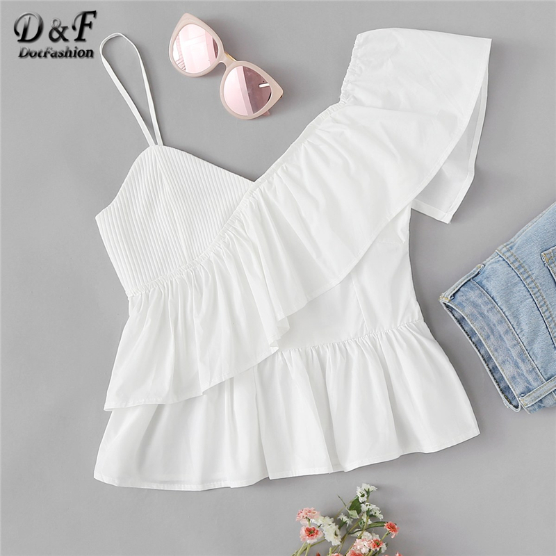 Dotfashion White Solid Ruffle Trim Asymmetrical Shoulder Top Fashion Camis Women 2019 Summer Vest Tops Clothes Casual Camisole