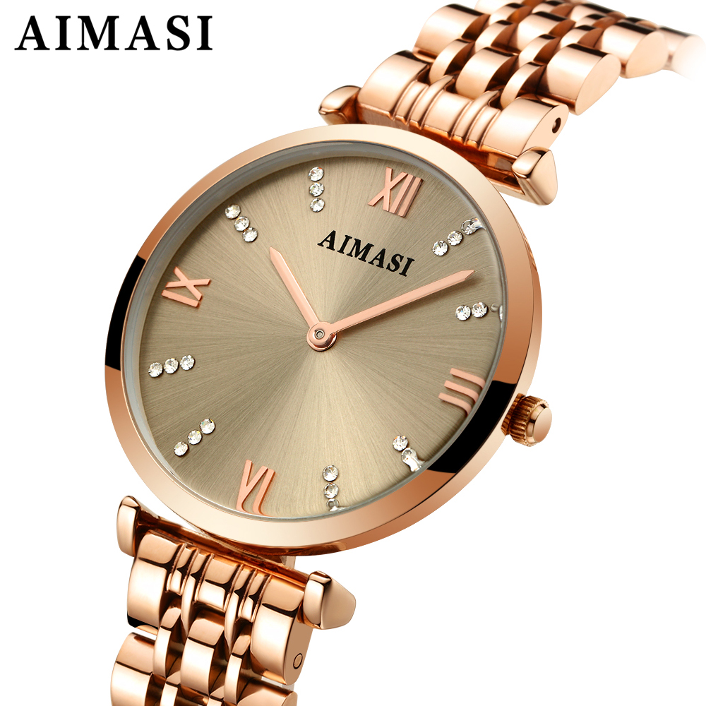 ANIMASI Ms. quartz watch luxury female clock luxury quartz watches ladies rose gold bracelet waterproof watch