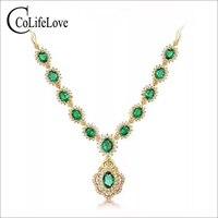 Роскошный изумрудное ожерелье или вечеринка 12 шт. Природный Si класса изумруд серебряное ожерелье стерлингового серебра 925 пробы изумруд юв