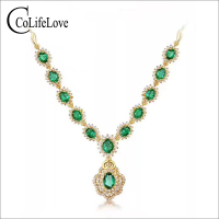Luxurious emerald necklace or evening party 12 pcs natural SI grade emerald silver necklace 925 sterling silver emerald jewelry