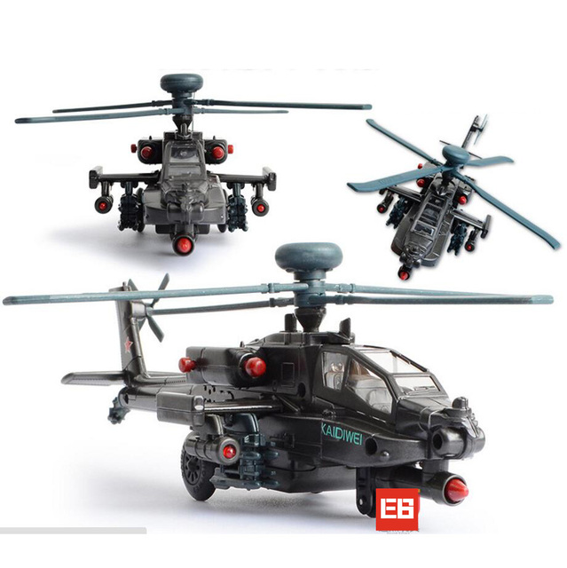 Military modern wars diecast Boeing AH-64 Apache helicopter gunships can shoot alloy pull back toy with light & sound Collection
