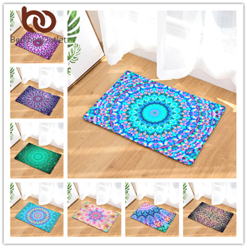 BeddingOutlet Geometric Print Teppich rutschfeste Bodenmatte Mandala Boho Print Bad Küche Tür Matte 40x60 50x80 cm Teppiche