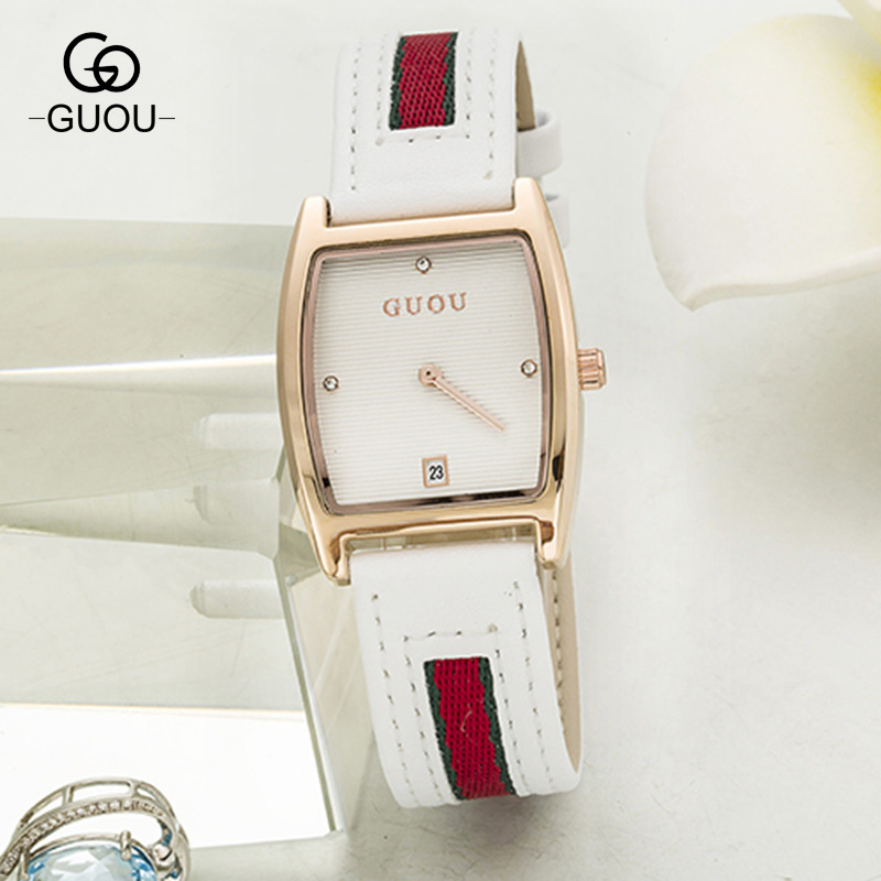 GUOU Classic Brand Genuine Leather Stainless Steel Rectangle Dial Quartz Women Ladies Dress Wrist Watch Wristwatches 8074 GU003 dmwd mini hair dryer foldable electric travel hairdryer household portable styling tool hot warm cold wind air blower 110v 220v