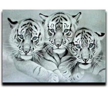 Animals Diamond Painting Embroidery Three Tigers Mosaic 3d square strass covered drill