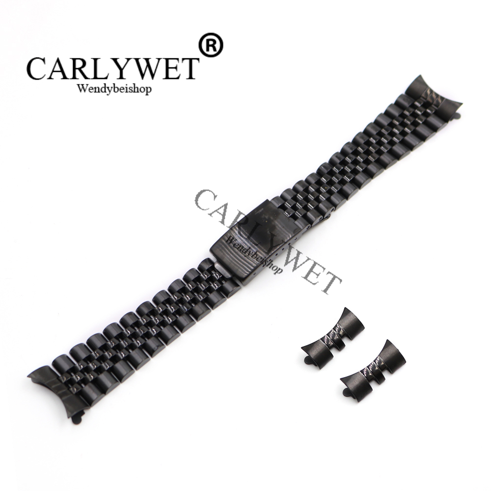CARLYWET 13 17 19 20 22mm Hollow Curved End Solid Screw Links Black 316L stainless Steel Replacement Watch Band Strap Bracelet цена и фото