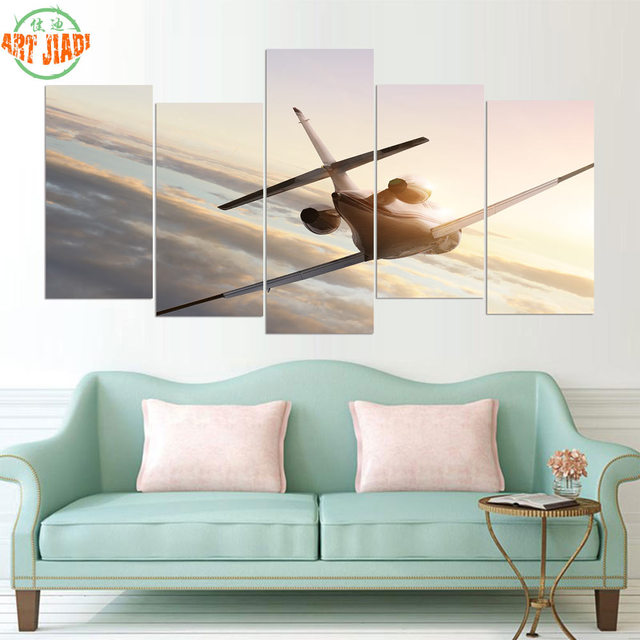 NEW 5 Piece Canvas Art COMMERCIAL AIRLINER FLYING IN HIGH SKY Canvas ...