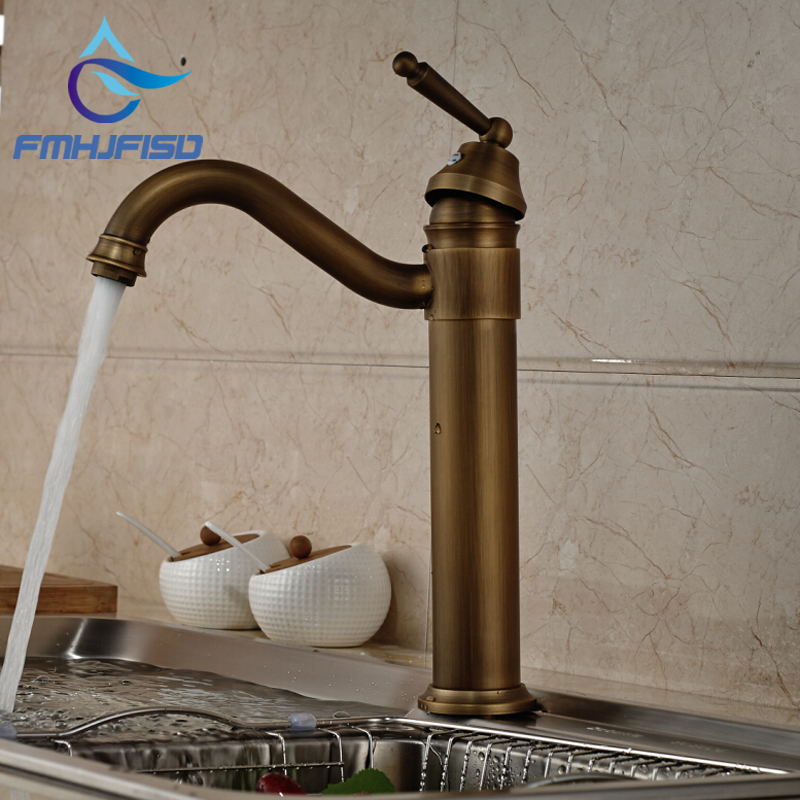 ✓Antique Bronze Swivel Spout Vessel Sink Mixer Tap Kitchen Faucet ...