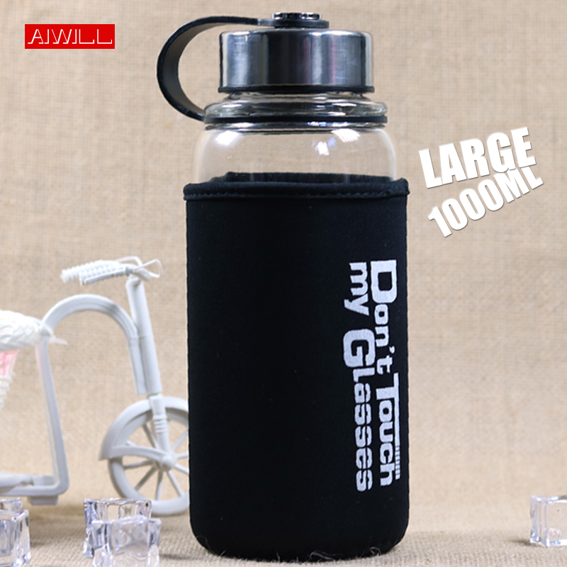 AIWILL 1000ml 700ml Large capacity water bottle with tea infuser Outdoor travel glass bottle with women