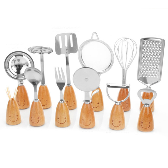 Fashion 12 Pcs Cooking Tool Sets Korean Style Stainless Steel Kitchen Tools  Wooden Handle Tableware Kitchen