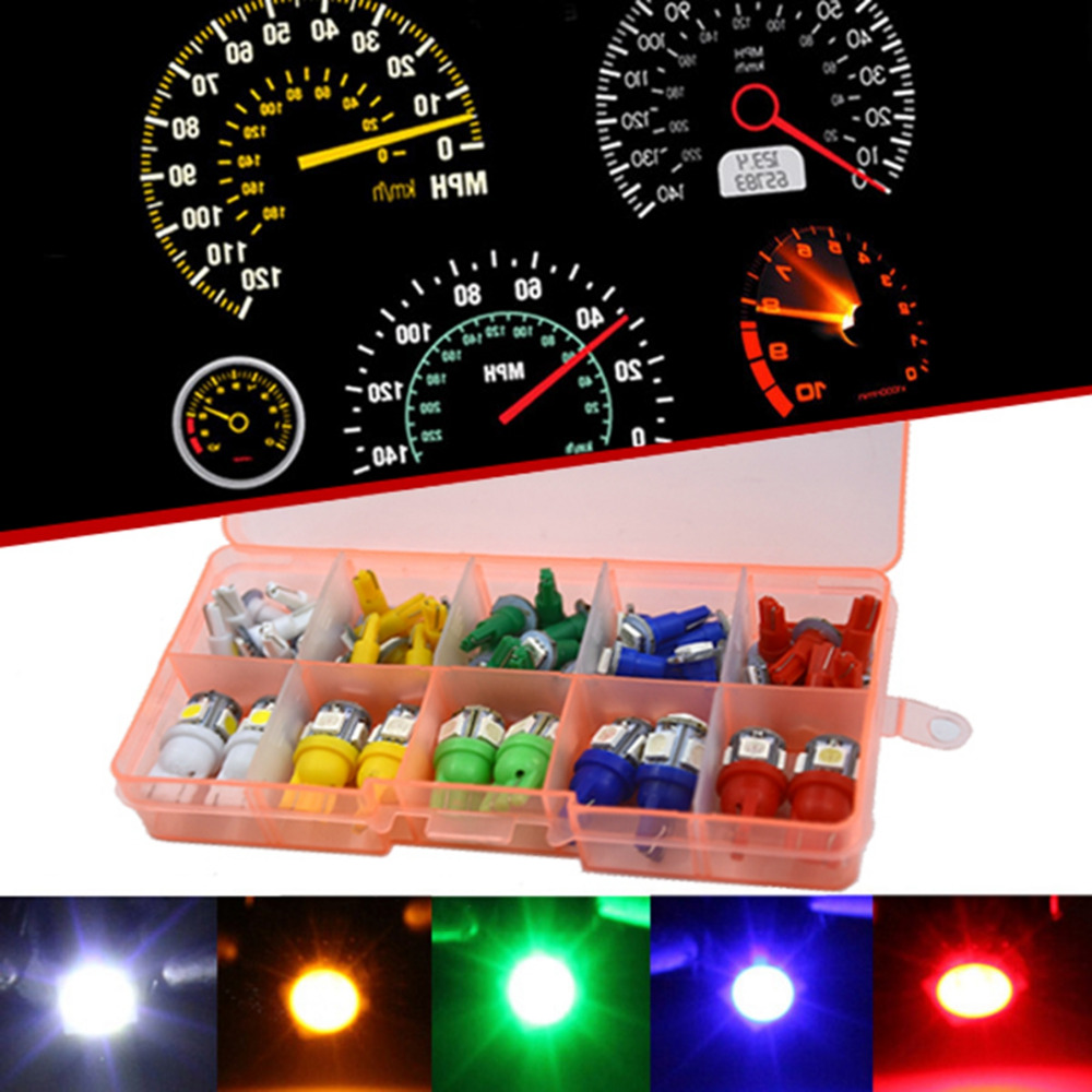 Qook Car Auto T5 T10 LED 5050 SMD Instrument Panel Dashboard Light Bulb Green Red White Blue Yellow Lamp 12V qook 10pcs t10 w5w yellow green red pink white blue 5050 smd 5 led car side wedge light bulb lamp 12v cool white 192 168 194