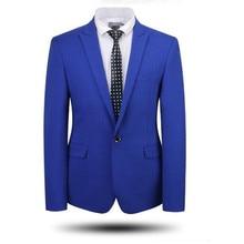 Синие мужские костюмы куртка one button Жених Свадебные смокинги куртка новости прибытие Формальные работе деловые костюмы куртка