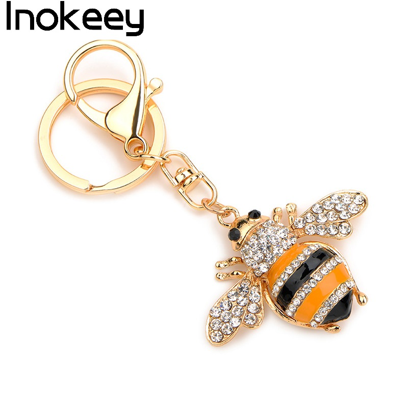 Inokeey Alloy Yellow Enamel Rhinestone Bee Key Chain Կանայք - Նորաձև զարդեր - Լուսանկար 2