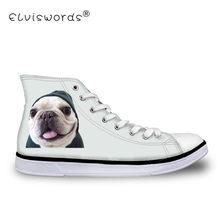 c27928c911 ELVISWORDS Vulcanize Sapatos Adolescente Padrão Bulldog Animal Impresso das  Mulheres Das Sapatilhas para Sapatas de Lona
