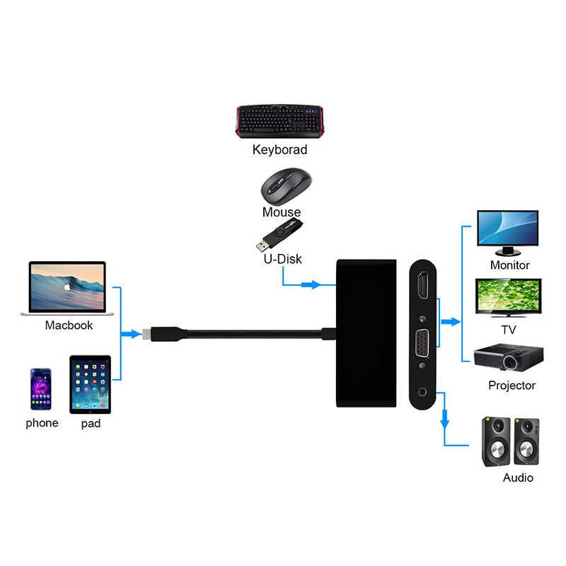 USB-C Hub Dock كابل conttador USB نوع C إلى HDMI VGA مهايئ توزيع 4K 3.5 مللي متر USB3.0 3 في 1 ل Macbook/pc/كمبيوتر محمول HDMI و كابل تجهيز مرئي