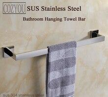 Длина 60 см sus 304 нержавеющей стали одной полотенце бары хромированная отделка прямоугольный ванной вешалка для полотенец аппаратных кулон