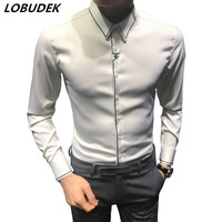 Men's Smart Casual Shirts Black White Solid color Shirt Spring Autumn Long Sleeve slim shirts Fashion tide male casual clothing