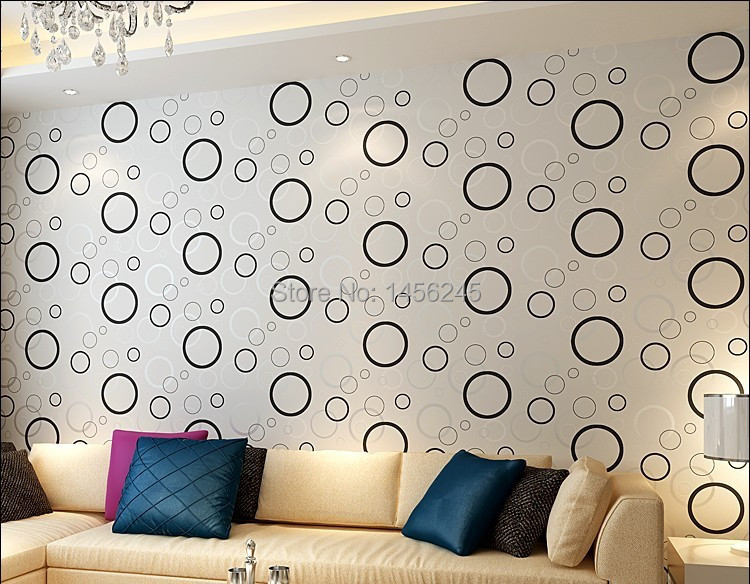silver circle black background design modern stylish feature style PVC  wallpaper living room home decor-in Wallpapers from Home Improvement on ...