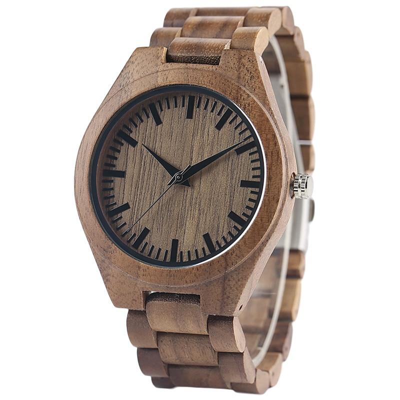 High Quality Luxury Mens Hand-made Walnut/Ebony Quartz Watches Wooden Watchband Bracelet Clasp Casual Fashion Wristwatch Gift