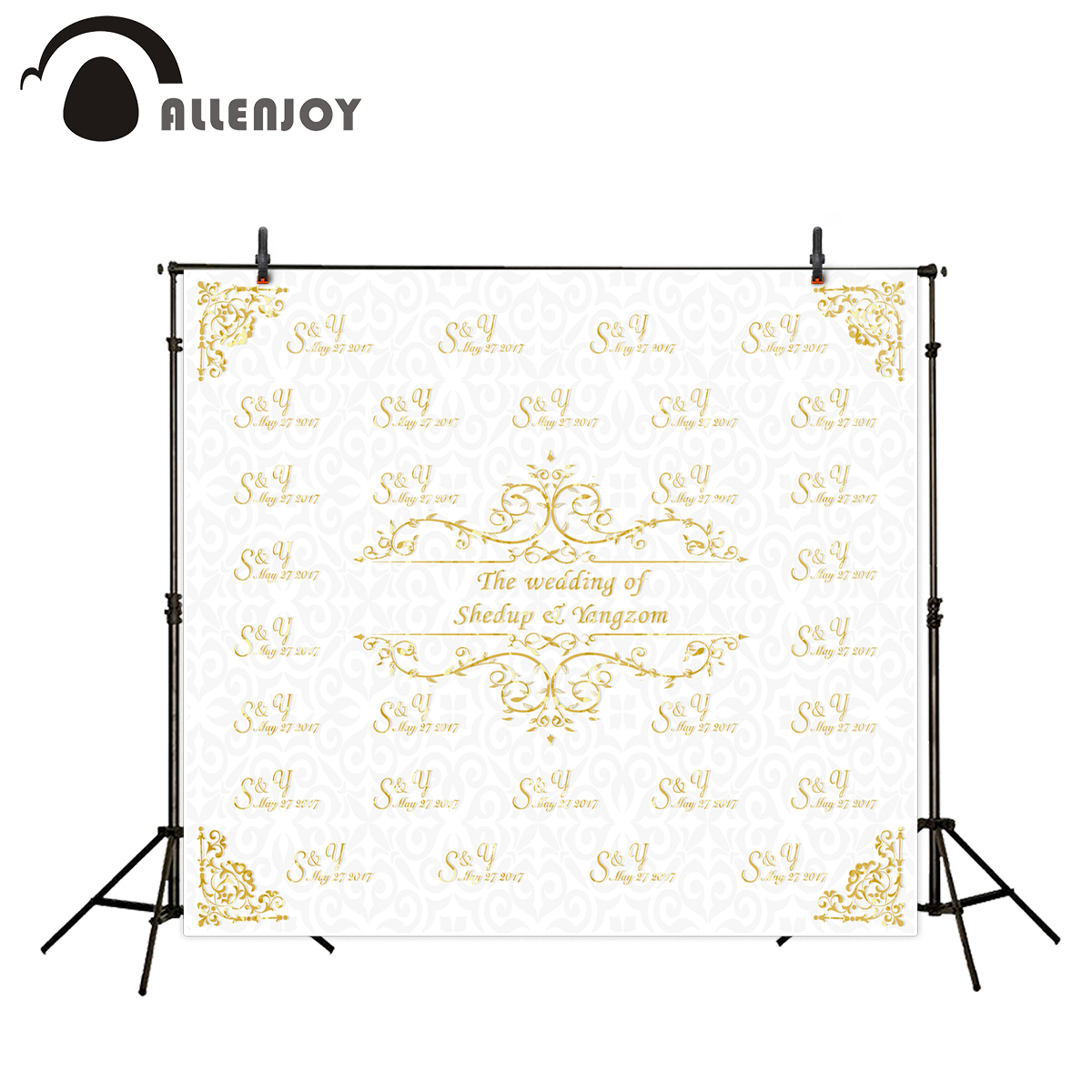 Allenjoy Photography Background Gold frame wedding backdrop name date and phrase can be customized background camera fotografica allenjoy diy wedding photography background romantic love wood board custom name date phrase backdrop photocall