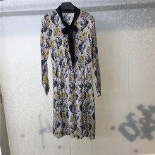 women dress autumn silk female fashion printed dresses bow tie long sleeve casual vestidos