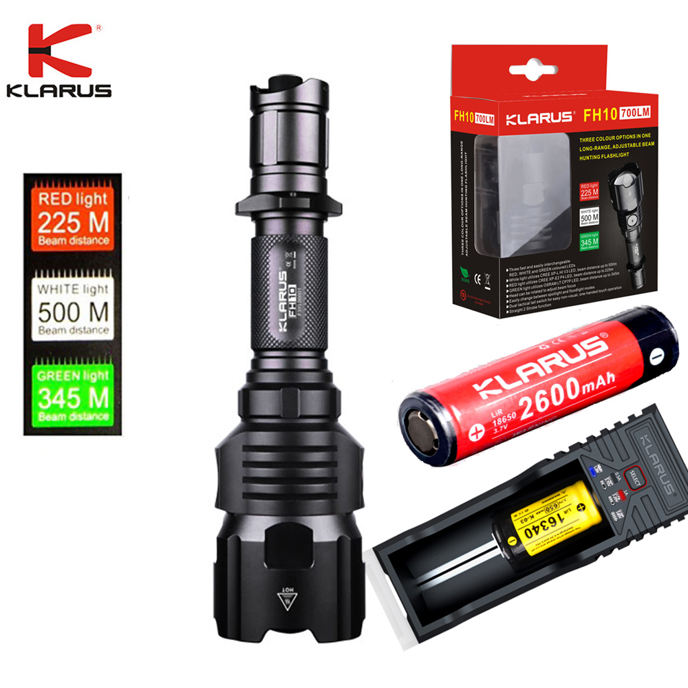 Tactical flashlight KLARUS FH10 RED WHITE GREEN coloured LEDs 700LM beam distance 500 meters Rechargeable torch with battery Люмен