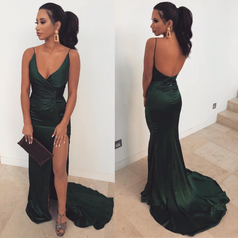 Sexy Slit Deep V Neck Mermaid Green Prom   Dresses   2019 Backless Spaghetti Straps   Bridesmaid     Dresses   Long Wedding Party Gowns