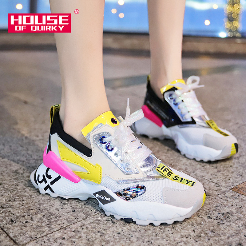 Female Vulcanized Shoes Women Spring Breathable Round Head Sports Shoes Woman Mesh Running Shoes Ladies Casual Sneakers 2019 New