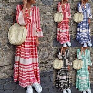 beach wear Fashion Women Summer Printed V Neck Beach Party Long Dresses Bohemian Dresses beach dress