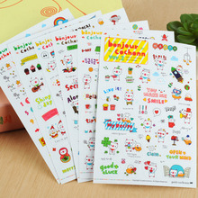 1 Set Of 6 Pieces/Lovely Pig Print Transparent Stickers Children Gift Calendar Diary Scrapbook