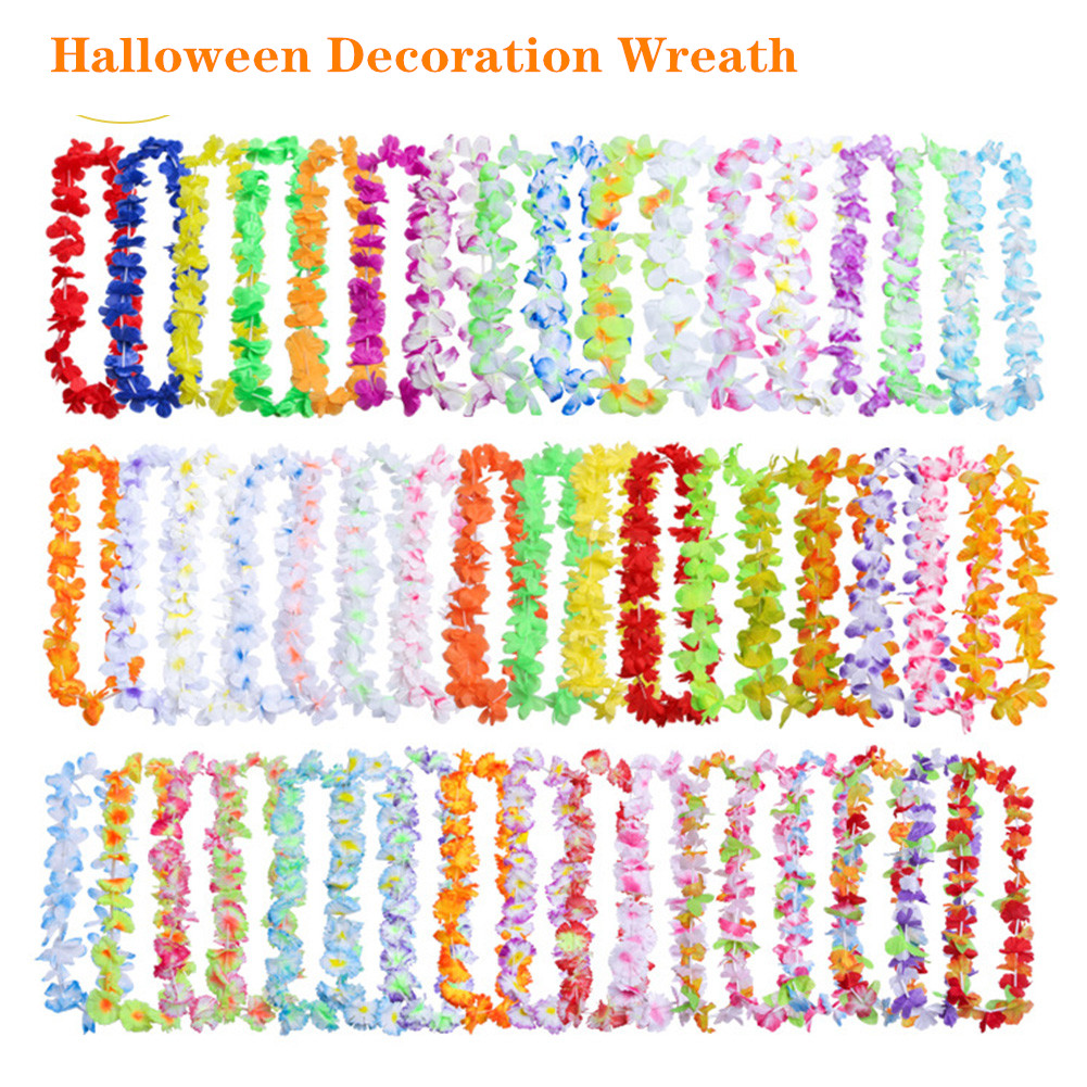 100pcs Hawaiian Garland Flower Garland Flower Necklace Hawaiian Flowers Leis Evening Supply Beach Funny Wreath DIY Decorations/7