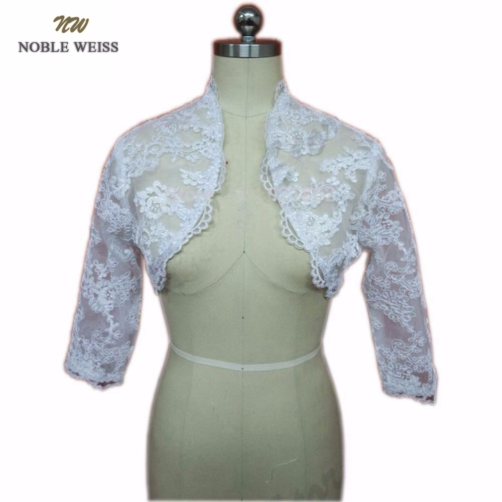 NOBLE WEISS Real Picture Long Sleeves Lace Wedding Wrap Bridal Jacket 1061