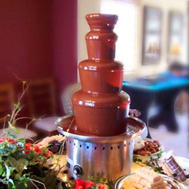 Electrics 4 Tier Stainless Steel Melt Maker Chocolate Fondue Fountain Machine ZF